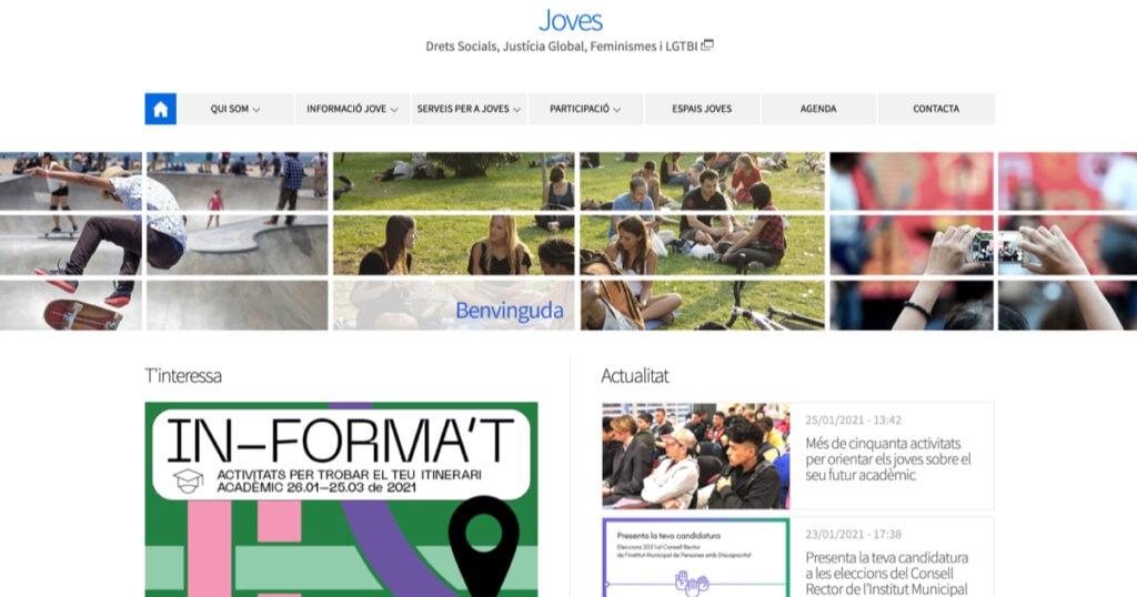 Portal web de Juventud del Ayuntamiento de Barcelona